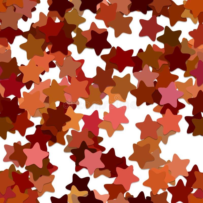 Abstract seamless random star background pattern - vector design from rounded pentagram stars with shadow effect. Abstract seamless random star background stock illustration