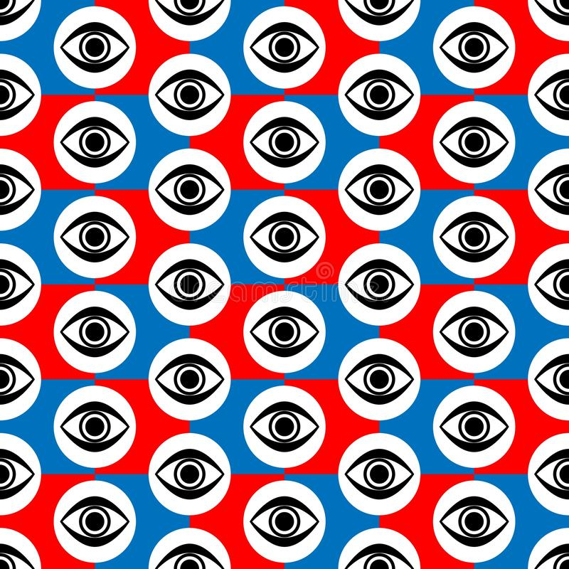 Abstract Seamless Red Blue, Black and White Geometric Pattern with Blinking Eyes. Abstract Seamless Red and Blue, Black and White Geometric Pattern with Blinking royalty free illustration