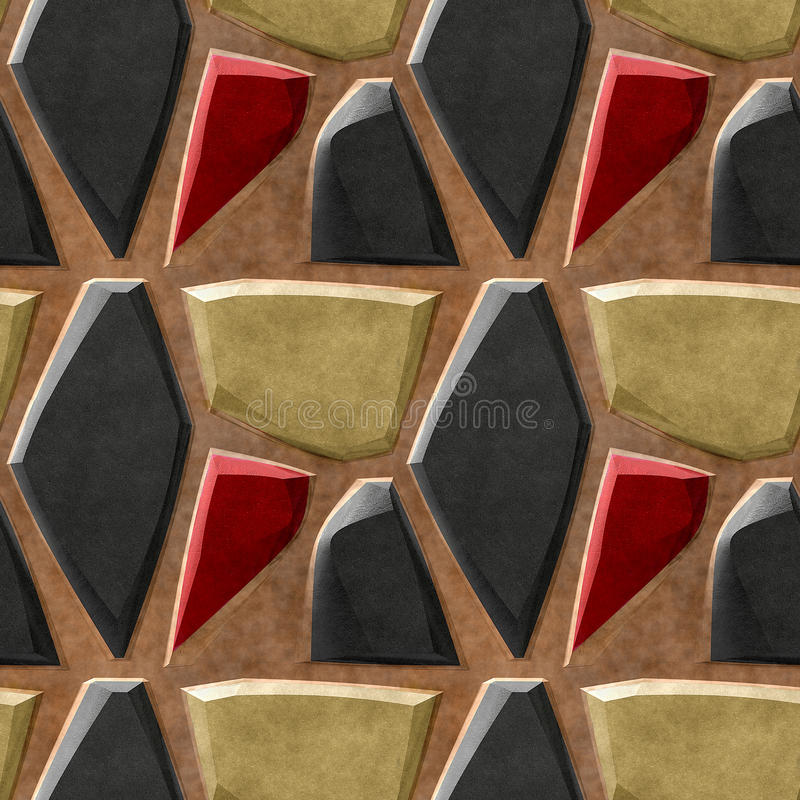 Abstract seamless relief pattern of black, gold and red sharp stones royalty free illustration