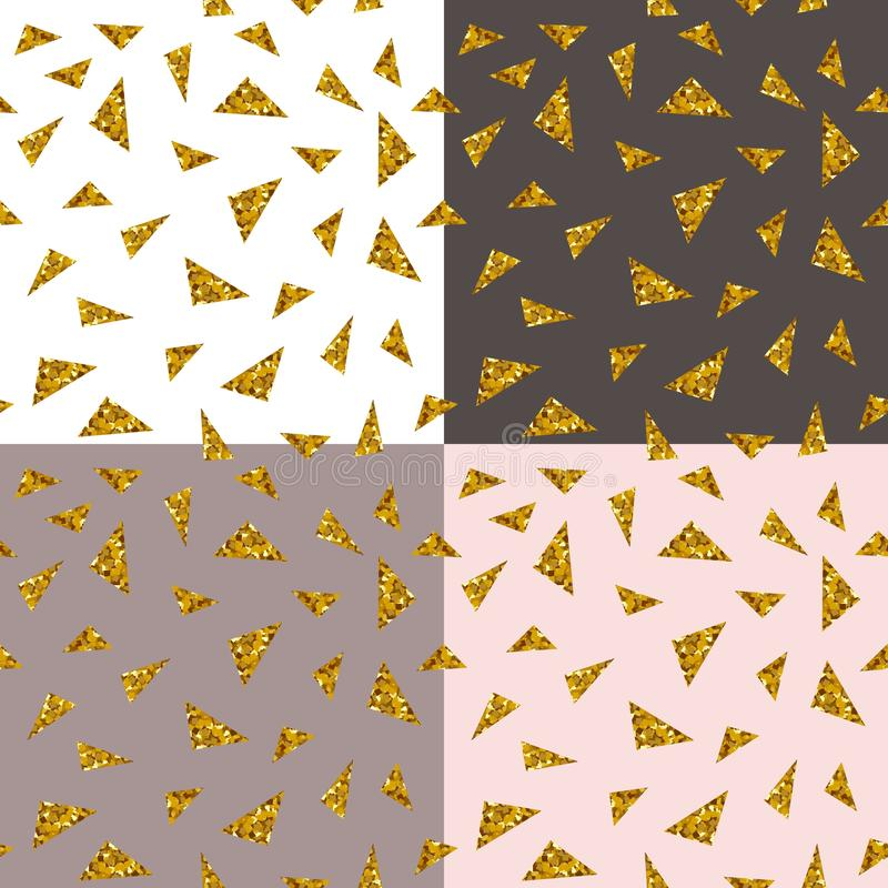Abstract seamless repeating pattern with gold glitter triangles on different backgrounds vector illustration