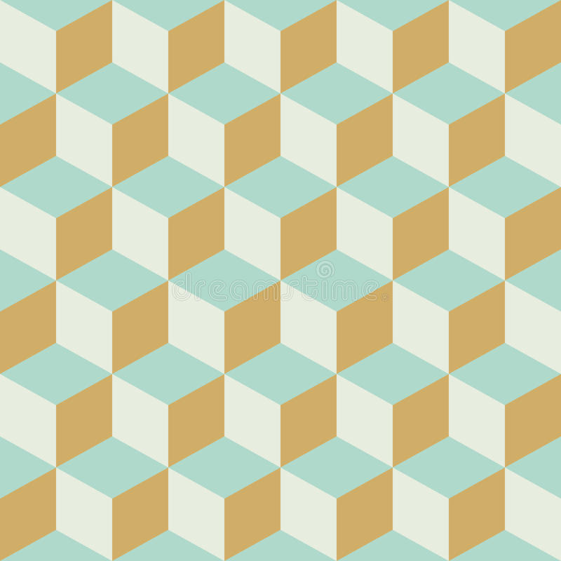 Abstract Seamless Retro Checkered Cube Block Color Pattern Background vector illustration