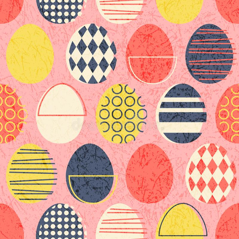 Free Abstract Seamless Retro Easter Eggs Pattern In Stamped Style. Royalty Free Stock Images - 143002999