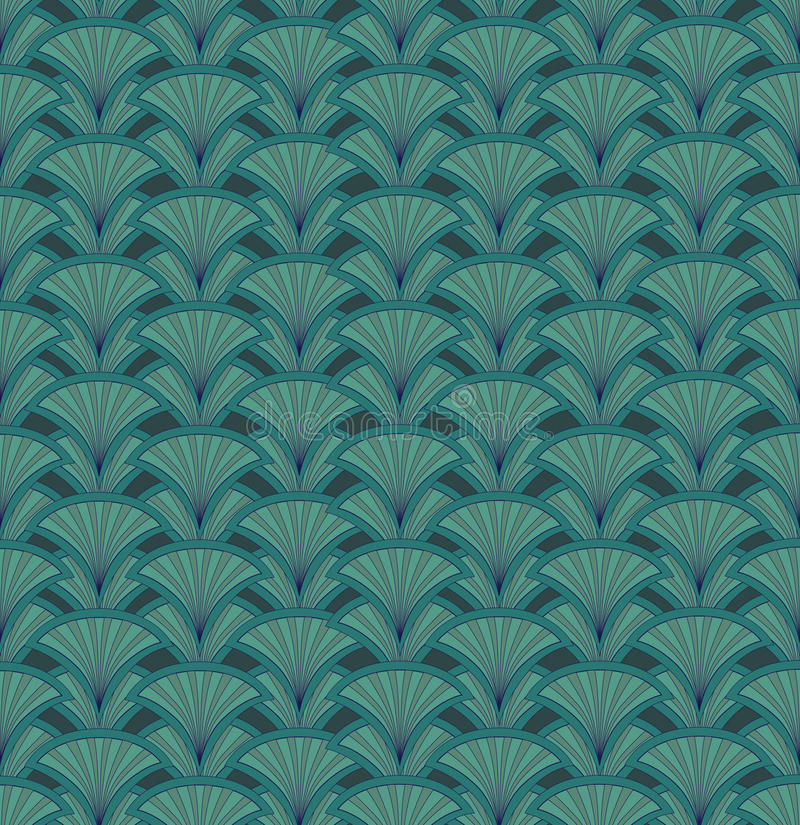 Abstract seamless retro pattern. Green floral back royalty free illustration
