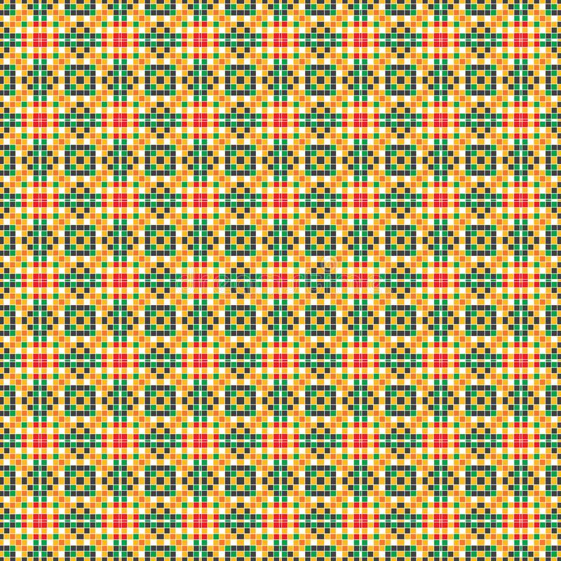 Seamless Pixel Square Plaid Abstract Colorful Fabric Geometric Pattern Texture vector illustration