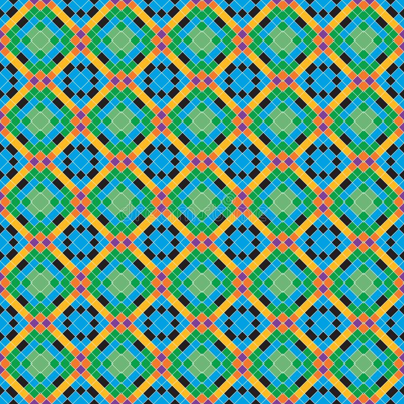 Seamless Square Plaid Abstract Colorful Fabric Geometric Pattern Texture_68 royalty free illustration