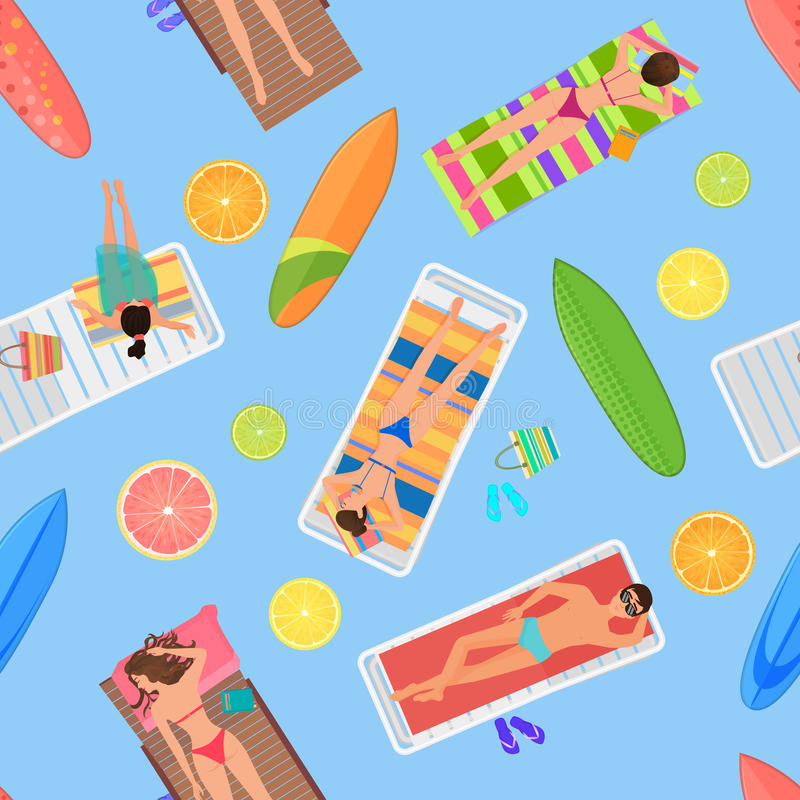 Abstract seamless summer pattern top view. From above summer people in swimming pool. Summertime people with citrus royalty free illustration