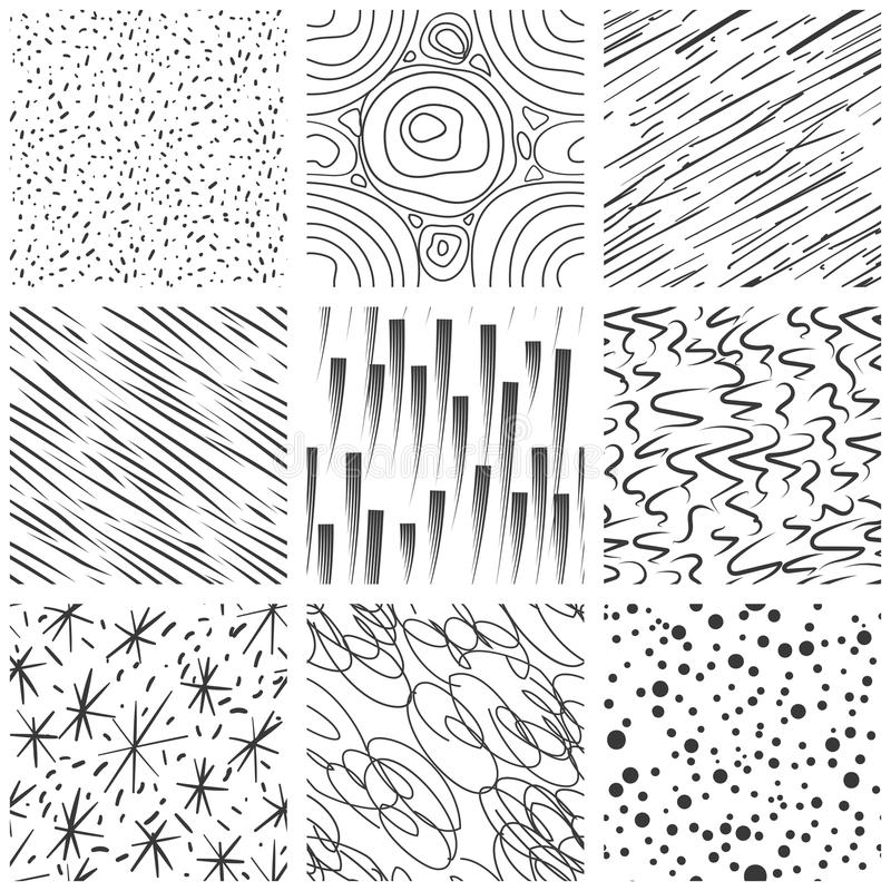 Abstract seamless texture patterns. Simple lined and splatter paint splashes black drop vector pattern set vector illustration