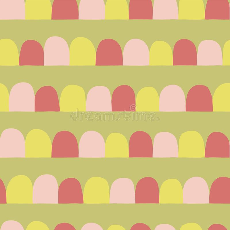 Abstract seamless vector background. Horizontal lined up arcs, half circles. Pink, lime yellow, green. Modern geometric pattern stock illustration