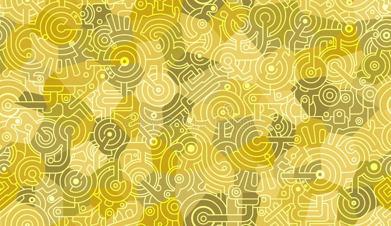 Abstract seamless vector pattern. Background texture. Mechanic, technical motif. Bolts, gears, cogs.  Yellow, military green and w stock illustration