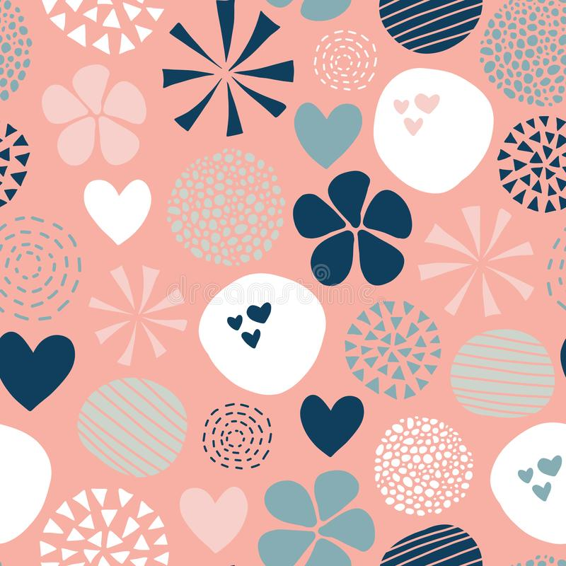 Abstract seamless vector pattern with flowers, dots, hearts in pink, white, coral, blue. Cute modern hand drawn simple feminine vector illustration