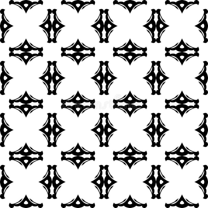 The Abstract Black and White Decorative Seamless Vector Pattern stock photos