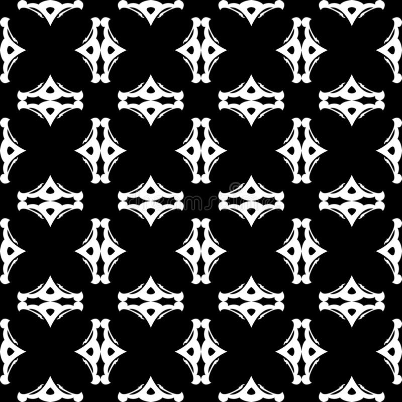 The Abstract Black and White Decorative Seamless Vector Pattern stock photography