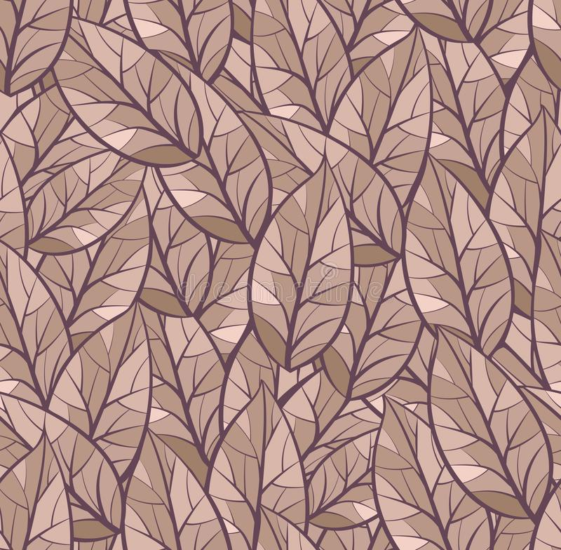 Abstract seamless vector pattern of leaves. Background texture. Brown, beige color, separated from dark purple background vector illustration