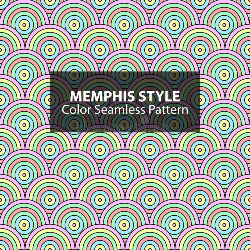 Abstract seamless vibrant pattern. Abstract seamless vibrant pattern in retro memphis style. Fashion 80s-90s. Colorful circles background royalty free illustration