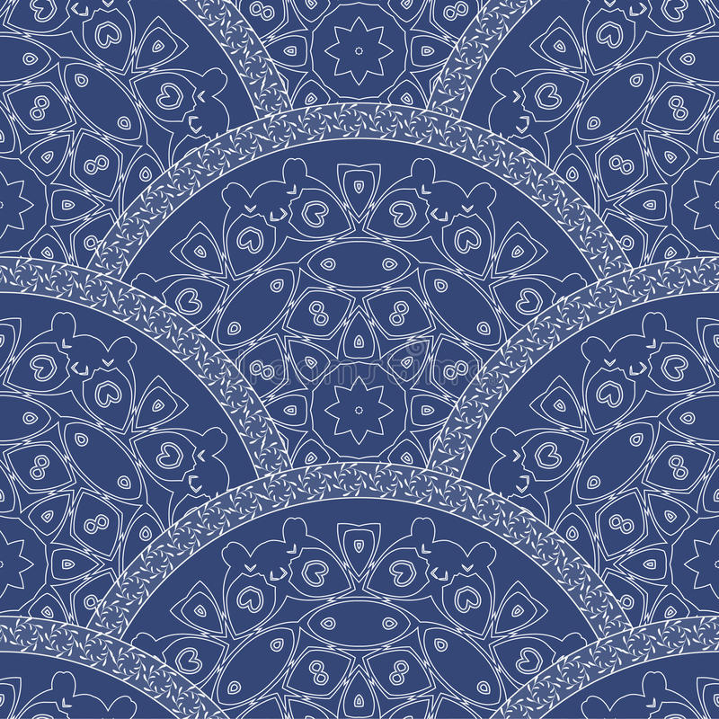 Abstract seamless wavy pattern from decorative ethnic ornaments with dark blue paint texture. Regular fan or peacock tail shaped stock illustration