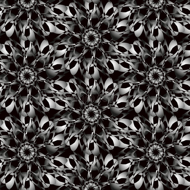 Abstract Seamless White Black Pattern Ornamental background stock image