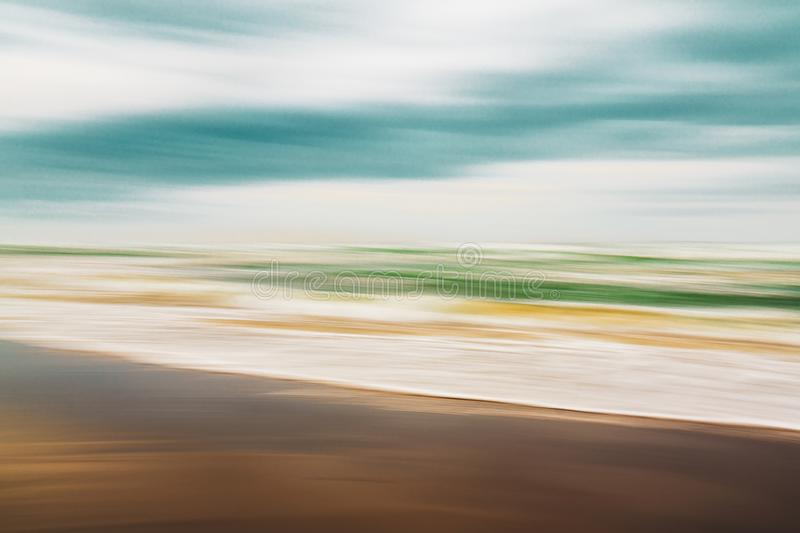 Abstract seascape, colorful sunny beach stock image