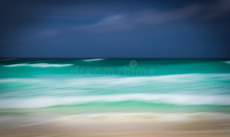 Abstract seascape with panning motion. An abstract seascape of Seychelles Islands, shot with panning motion stock photography