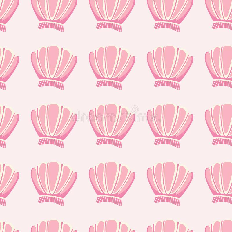 Free Abstract Seashells Seamless Pattern On Pink Background. Geometric Sea Ocean Shell Endless Wallpaper Stock Photo - 183591700