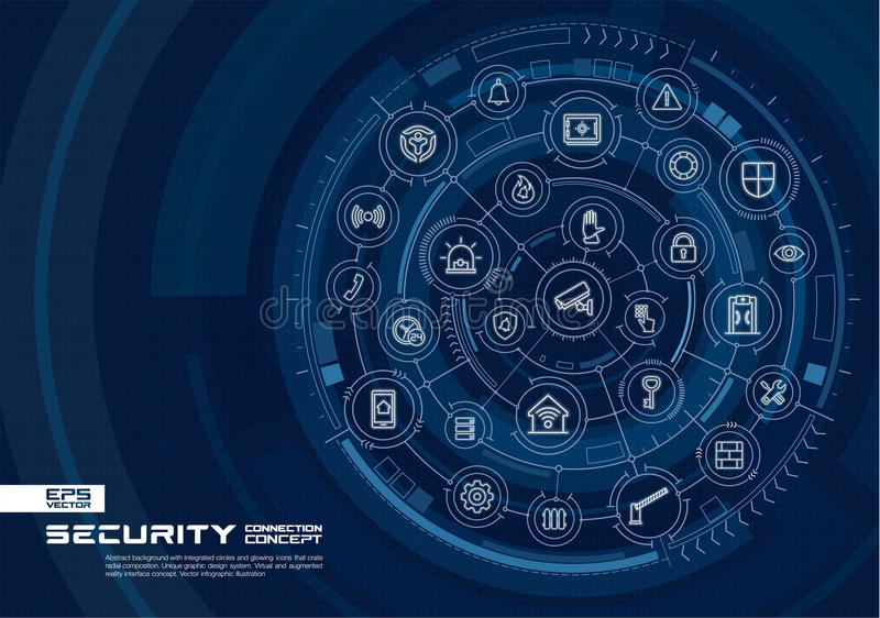 Abstract security, access control background. Digital connect system with integrated circles, glowing thin line icons. royalty free illustration