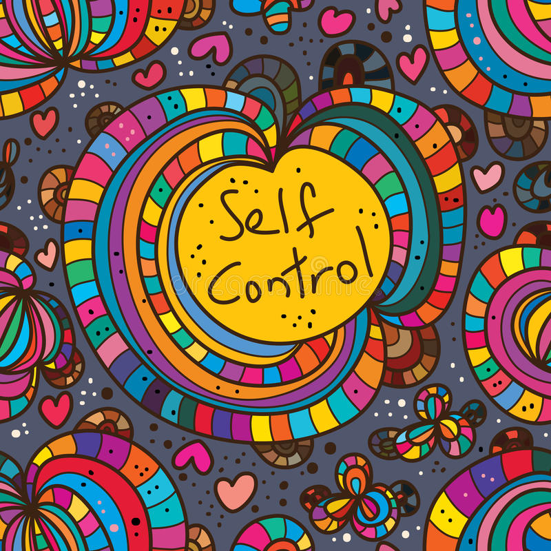 Abstract self control drawing seamless pattern stock illustration
