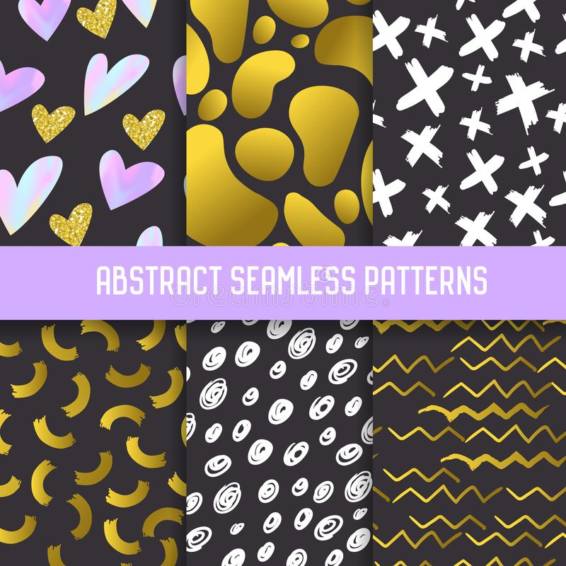 Abstract Semless Patterns Set with Gold Glitter Elements. Dark Hand Drawn Backgrounds Memphis Style for Posters stock illustration