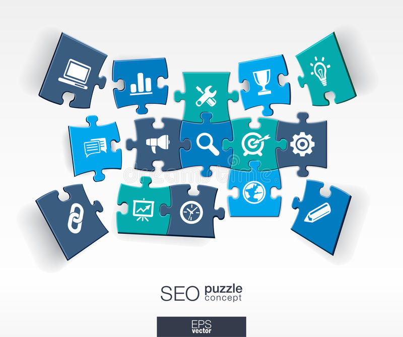 Abstract SEO background with connected color puzzles, integrated flat icons. 3d infographic concept with network, digital. Analytics, data and market pieces in royalty free illustration