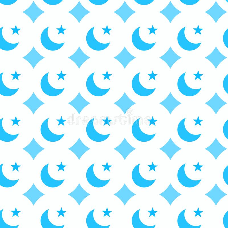 Blue moons and stars seamless pattern royalty free illustration