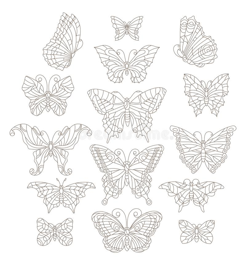 Abstract set of contour butterflies in stained-glass style, dark contours on a white background, coloring book royalty free illustration