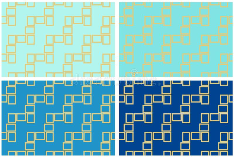 Abstract set of four seamless pattern textures of golden rectangular frames over dark and light blue shades background template Ve vector illustration