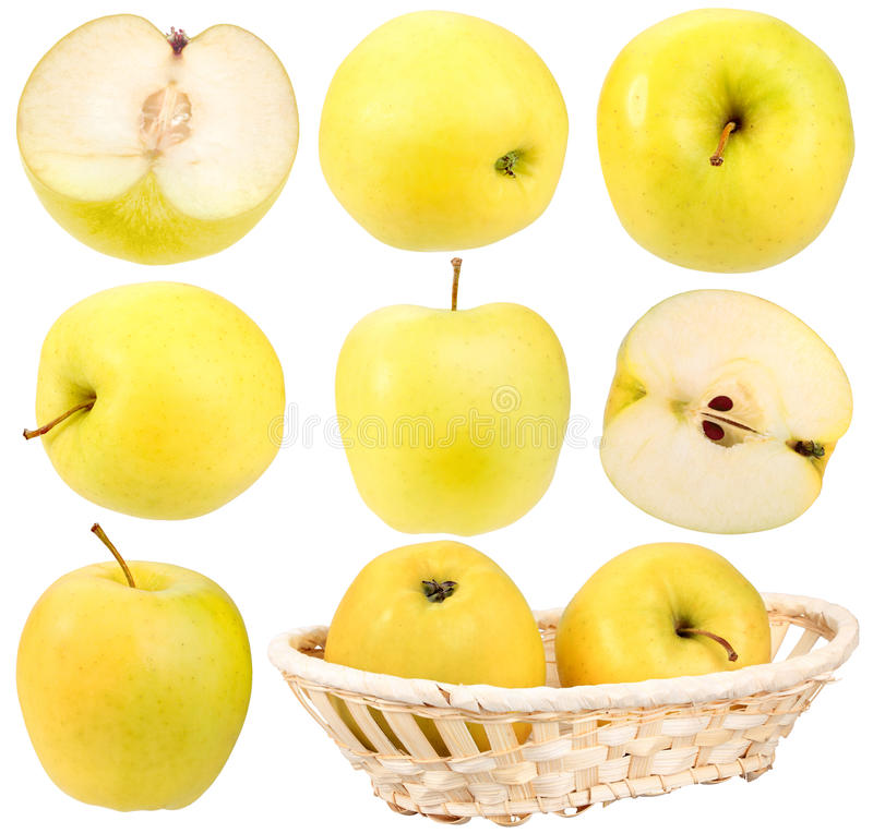 Abstract Set Of Fresh Yellow Apples Stock Photo