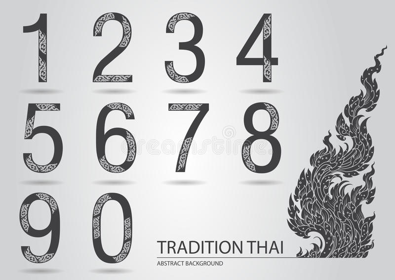 Abstract set number made from line thai art pattern vector illustration