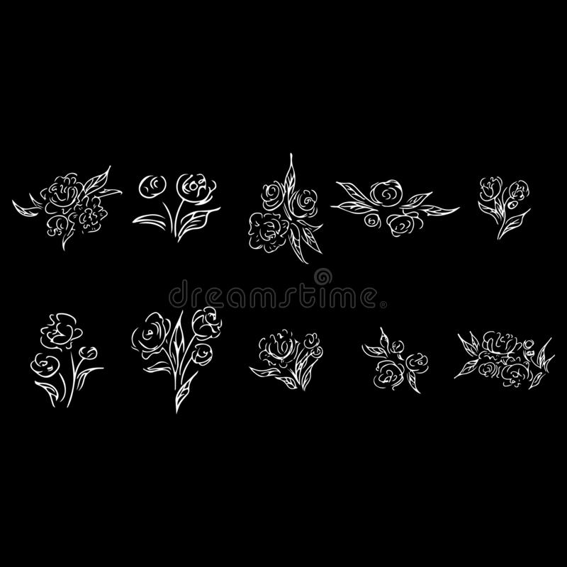 Abstract set with rose outline set for print design. Vector contour drawing. Logo illustration. Silhouette symbol. Vintage floral. Pattern. Vector illustration vector illustration