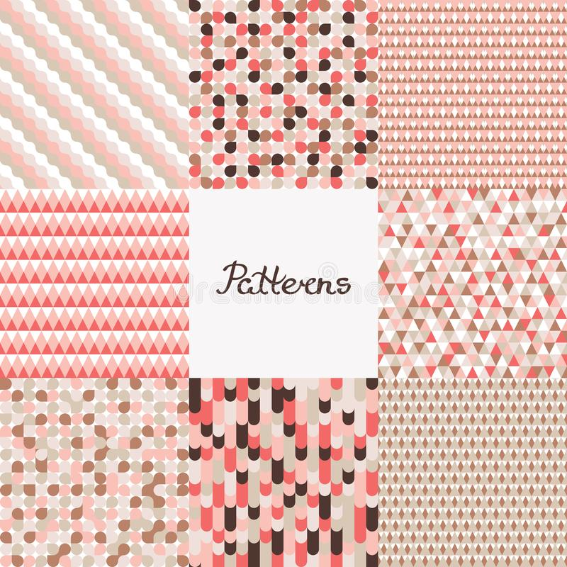 Set of seamless patterns. Geometric backgrounds with circles, waves, triangles in color live coral. Design of various surfaces. Vector illustration royalty free illustration