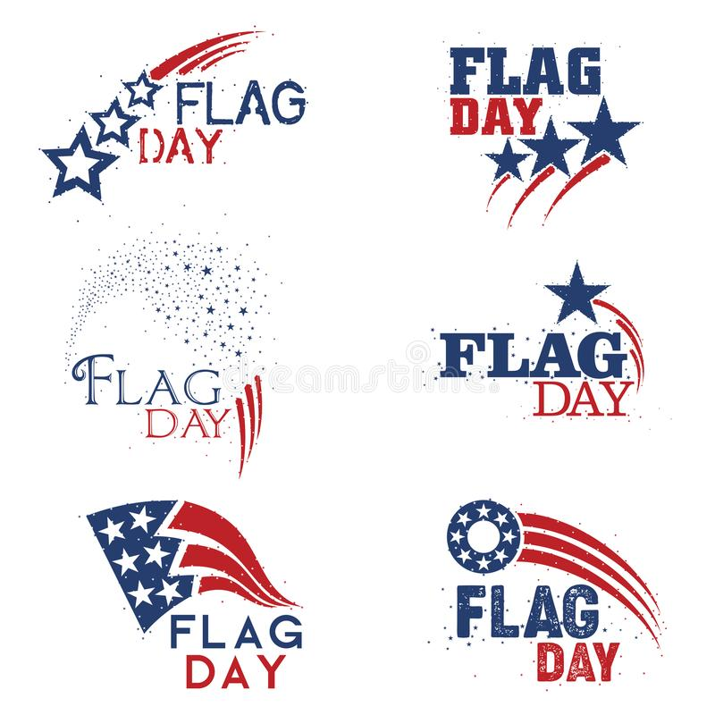 An abstract set of United States of America Flag Day mnemonics in red white and blue royalty free illustration