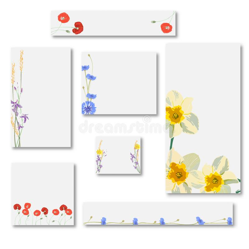 Abstract set of web banner templates with floral background for headers of websites stock illustration