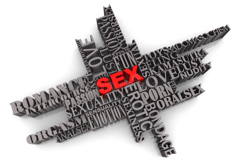 Abstract sex sign. 3d illustration of abstract sex sign formed from associated words, isolated on white background stock photo