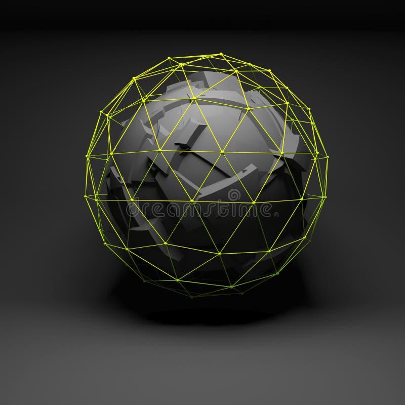 Abstract sferisch voorwerp, chaotische fragmentatie royalty-vrije illustratie