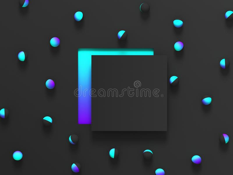 Abstract shaded 3d geometric background. Black modern glow design for poster, cover, banner, card. stock illustration