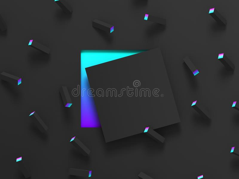 Abstract shaded 3d geometric background. Black modern glow design for poster, cover, banner, card. royalty free illustration