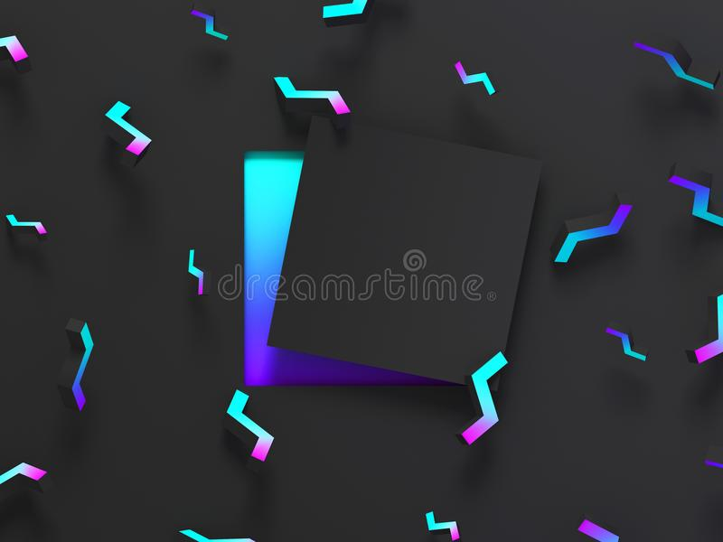Abstract shaded 3d geometric background. Black modern glow design for poster, cover, banner, card. vector illustration
