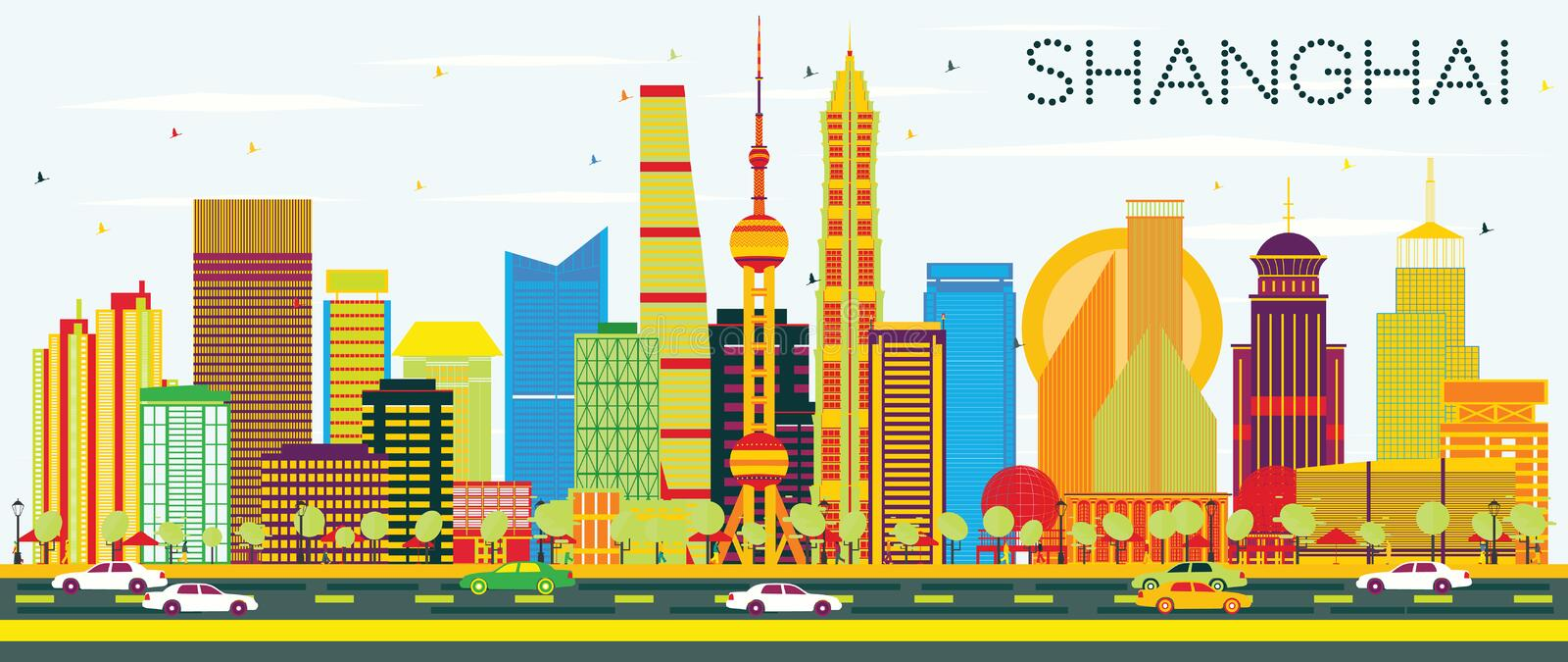 Abstract Shanghai Skyline with Color Buildings and Blue Sky. vector illustration