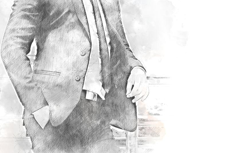 Abstract shape colorful Business man on watercolor. Abstract colorful business man portrait on watercolor illustration painting background royalty free stock photos
