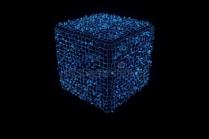 Abstract Shape Element in Wireframe Hologram Style. Nice 3D Rendering royalty free stock image