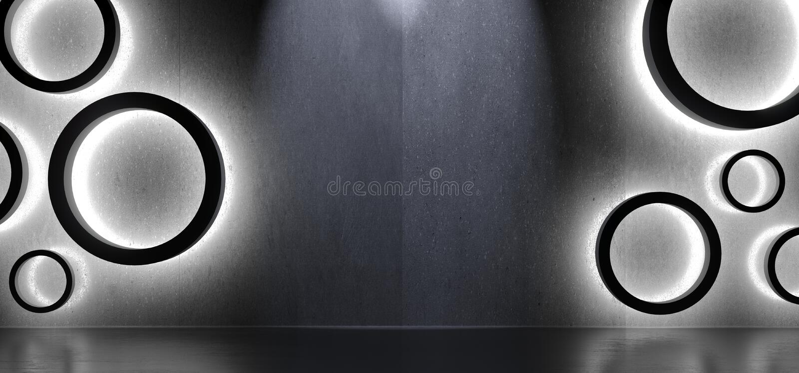 Abstract Shapes Circles Interior With Soft Light. 3D Rendering Of Abstract Shapes Circles Interior With Soft Light And Reflections Background stock illustration