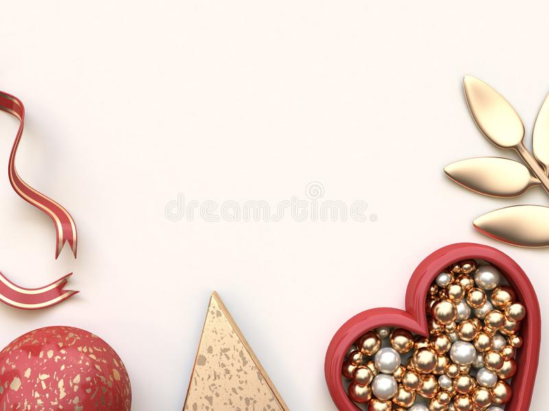 3d render abstract shapes geometric Christmas concept flat lay background Red gold stock photo