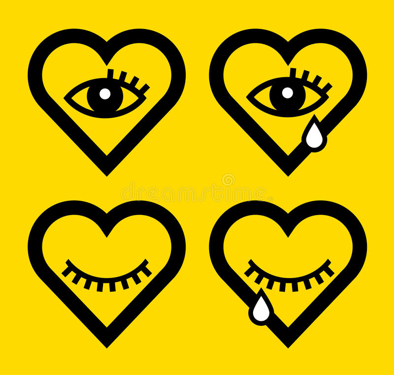 Abstract shapes of heart and eye stock illustration