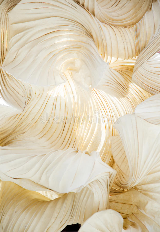 Abstract shapes of a paper ornamental object, like a sculpture stock image