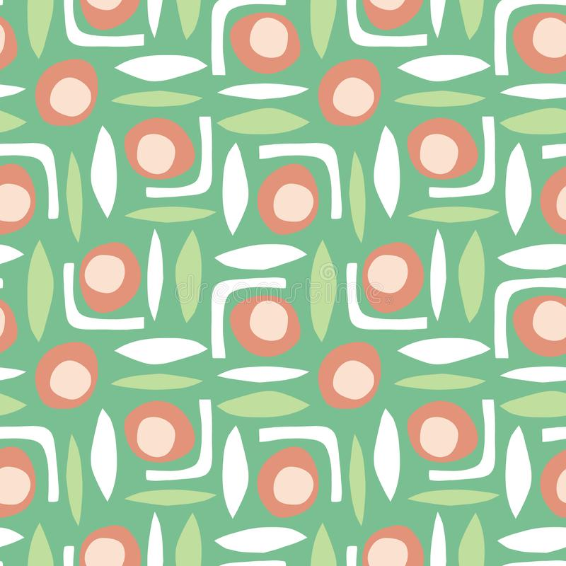 Abstract shapes seamless retro vector pattern paper cut out collage style green white orange royalty free illustration