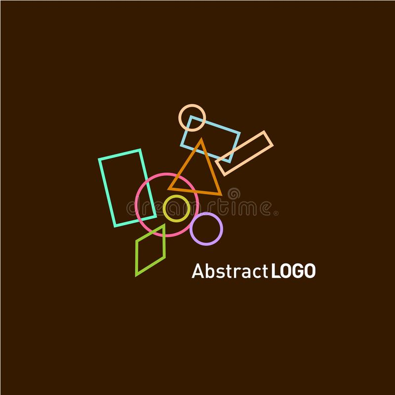 Abstract shapes set logo template royalty free illustration